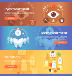 Medical and health banners set eye care vision vector