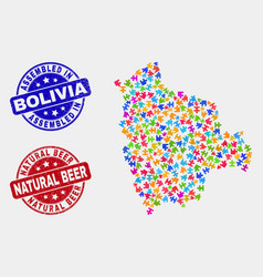 Module bolivia map and distress assembled and vector