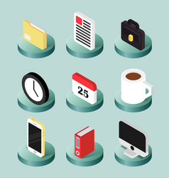 Office flat isometric icons vector
