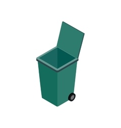 Open green garbage container icon vector image