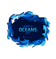 Paper art world oceans day origami sea wave vector