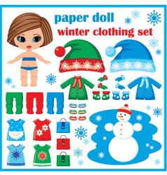 Paper doll with winter clothes set vector
