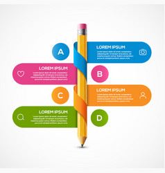 Pencil info graphic design template vector