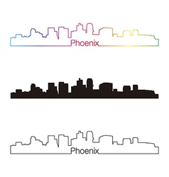 Phoenix skyline linear style with rainbow vector image