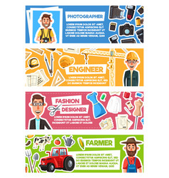 photographer farmer engineer or fashion designer vector image