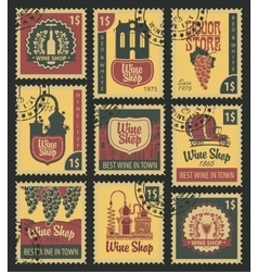 Postal stamps on theme of wine vector