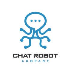 robot chat logo vector image