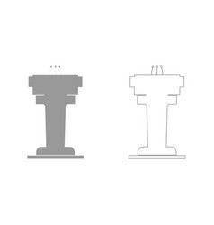 Rostrum with three microphone grey set icon vector