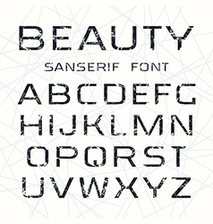 Sanserif font in thin line style vector