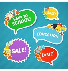 School bright stickers set vector
