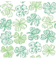 Seamless pattern with shamrock on white background vector image