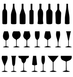 set bottles and glasses icons vector image