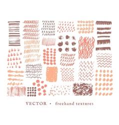 Set creative freehand textures vector