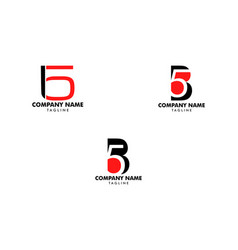 set initial letter and number logo b and 5 b5 vector image