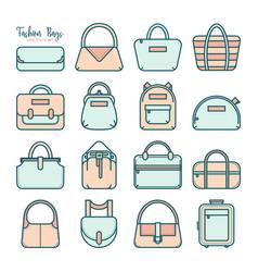 set of colored fashion bag line icons vector image