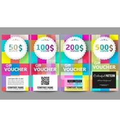 Set of gift voucher templates Abstract colorful vector image