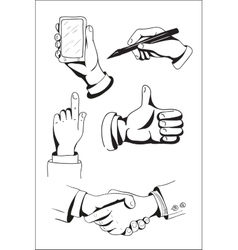 Set of hand drawn hands vector image