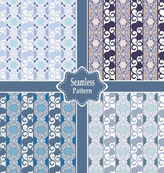 set of seamless ornamental pastel patterns vector image
