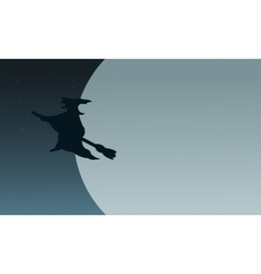 Silhouette of witch flying in moon vector