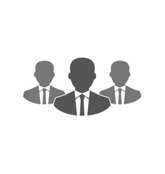 Simple flat businessman team icon silhouette vector