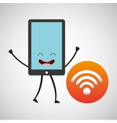 Smartphone character and wifi internet vector