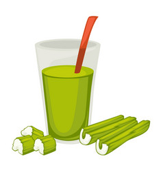 smoothie made celery glass with useful vector image