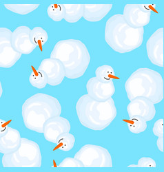 snowman pattern christmas new year background vector image