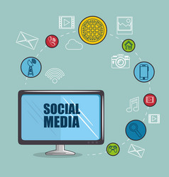 Social media and network communication design vector