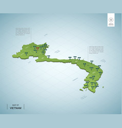 stylized map vietnam isometric 3d green map vector image