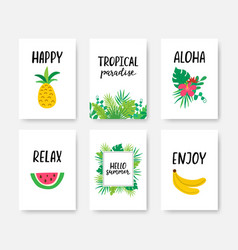 summer tropical poster a4 set with hand drawn vector image