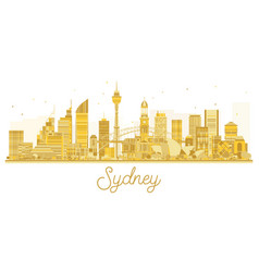 Sydney city skyline golden silhouette vector