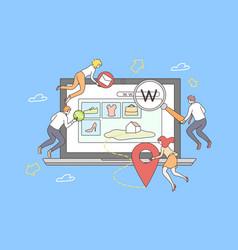 teamwork web site development concept vector image