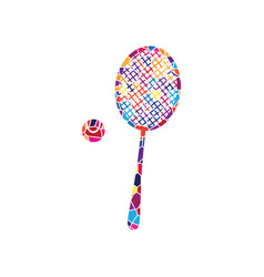 tennis racquet with ball sign stained vector image