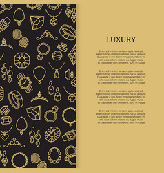 thin line jewelry and diamonds luxury banner vector image