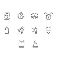 Thin line running icon set vector