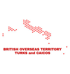 turks and caicos islands map - mosaic of heart vector image