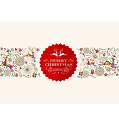 vintage christmas reindeer greeting card vector image