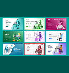 website design template set business vector image
