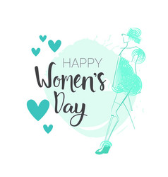 Woman day background 8 march poster with hand vector