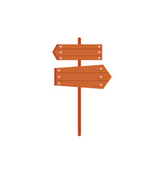 wooden sign road post with two directional boards vector image