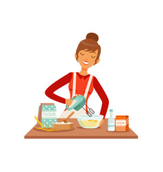 Young cheerful woman mixing dough with mixer vector