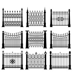 black and white iron gates and fences architecture vector image