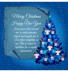 Christmas tree with angels and poster vector image