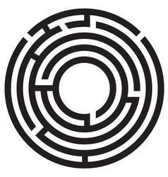 Circle maze symbol on white background round maze vector