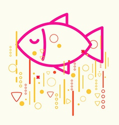 Fish on abstract colorful geometric light vector image vector image