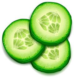 Fresh cucumber slice isolated on white background- vector image vector image