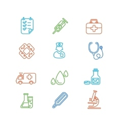 Medical Colorful Outline Icon Set vector image