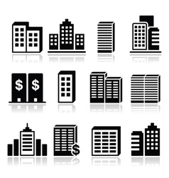 Office buildings business center icons set vector image vector image
