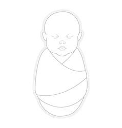 Sleeping swaddled newborn baby vector image vector image