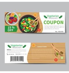 Vegetarian food coupon discount template vector